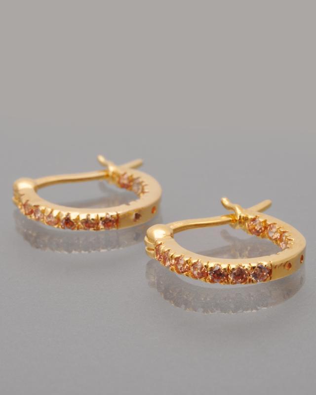 Серьги-кольца с фианитами Diamantaire
