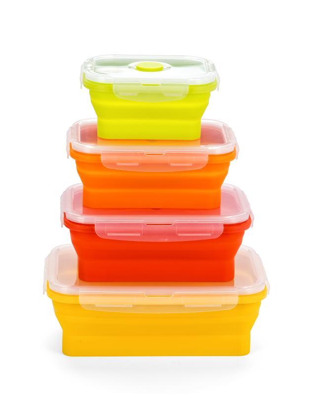 контейнеры Складные контейнеры для еды, 4 шт. Jocca силикон 1,2 л, 0,8 л, 0,54 л, 0,35 л