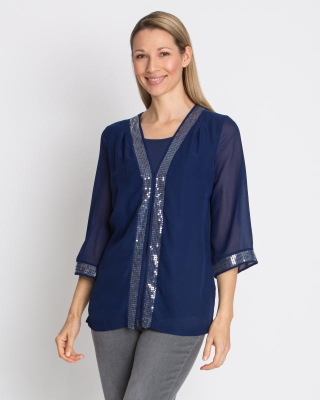 Блуза 2 в 1, р. 42, цвет темно-синий