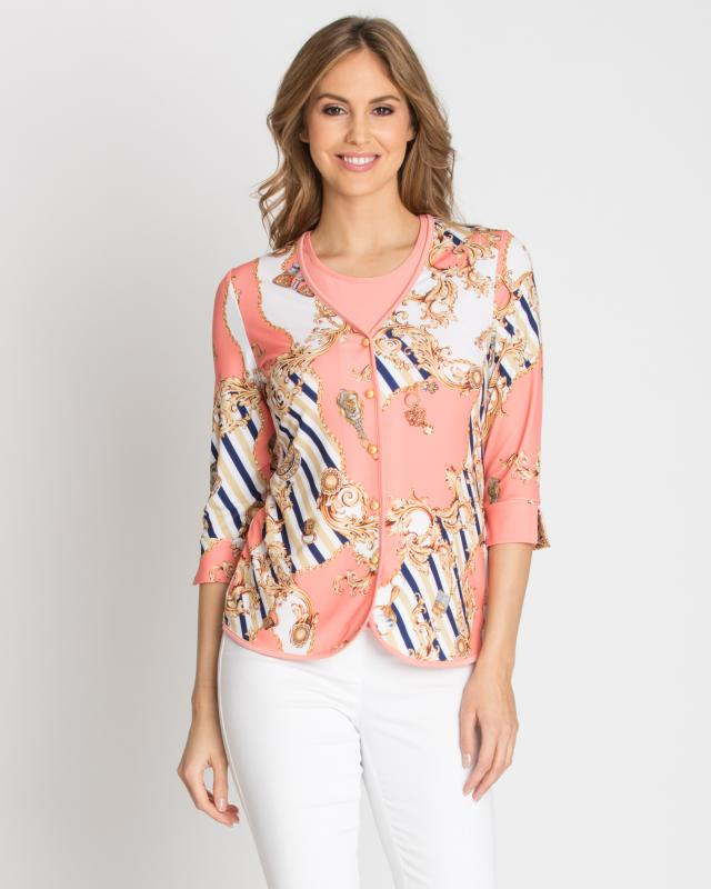 Кардиган и блуза, р. 42, цвет коралловый