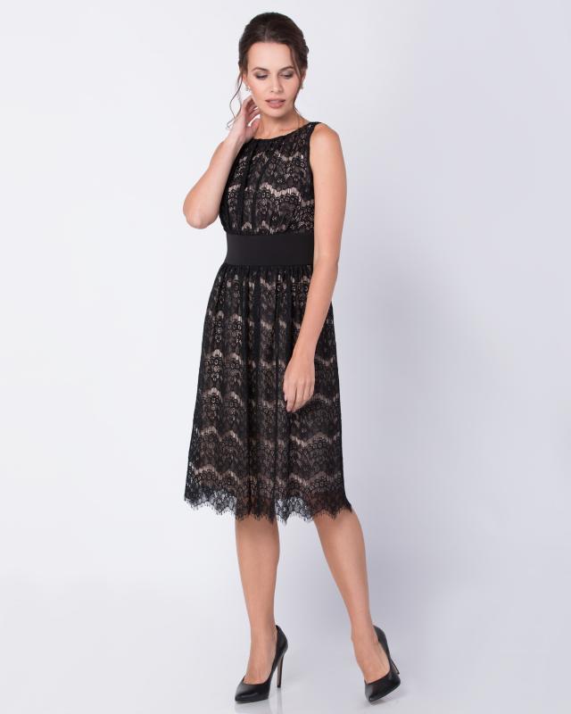 Платье, р. 56, цвет черный/бежевый