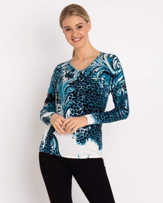 Пуловер, р. 54, цвет бирюзовый