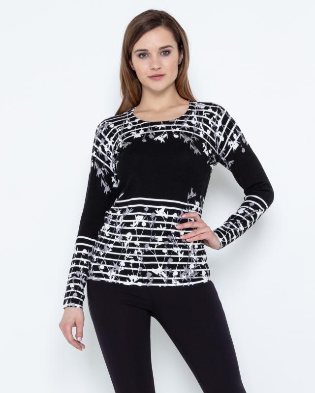 Пуловер, р. 46, цвет черный/белый
