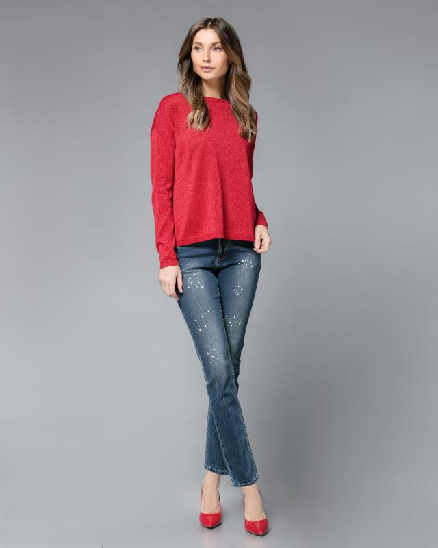 Пуловер, р. 58, цвет красный