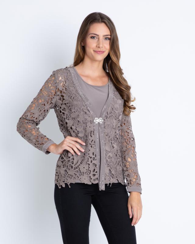 Сет: кардиган и блуза, р. 42, цвет серо-коричневый