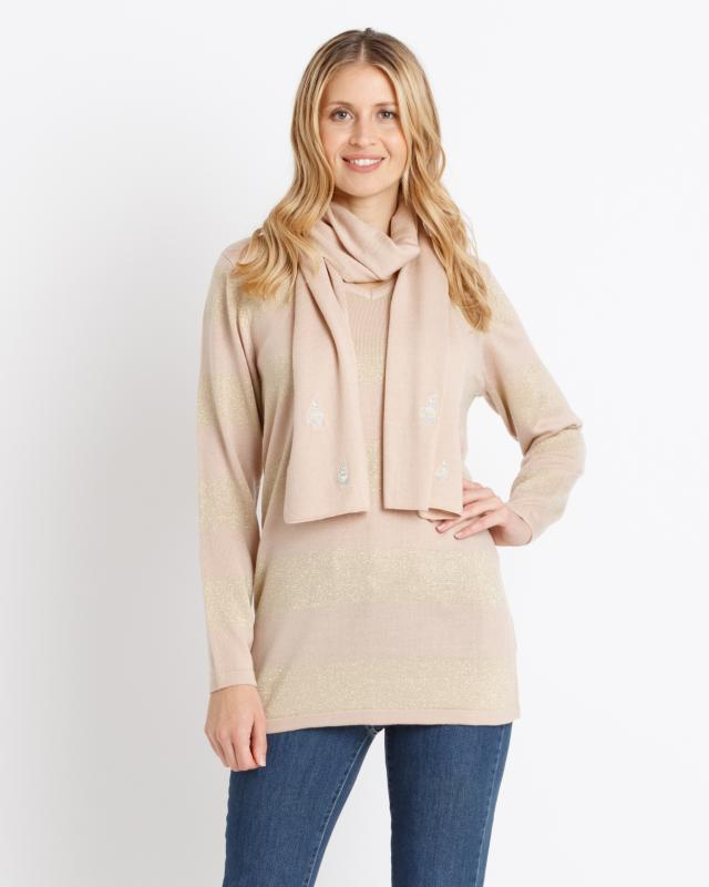 Сет: пуловер и шарф, р. 54, цвет сандаловое дерево