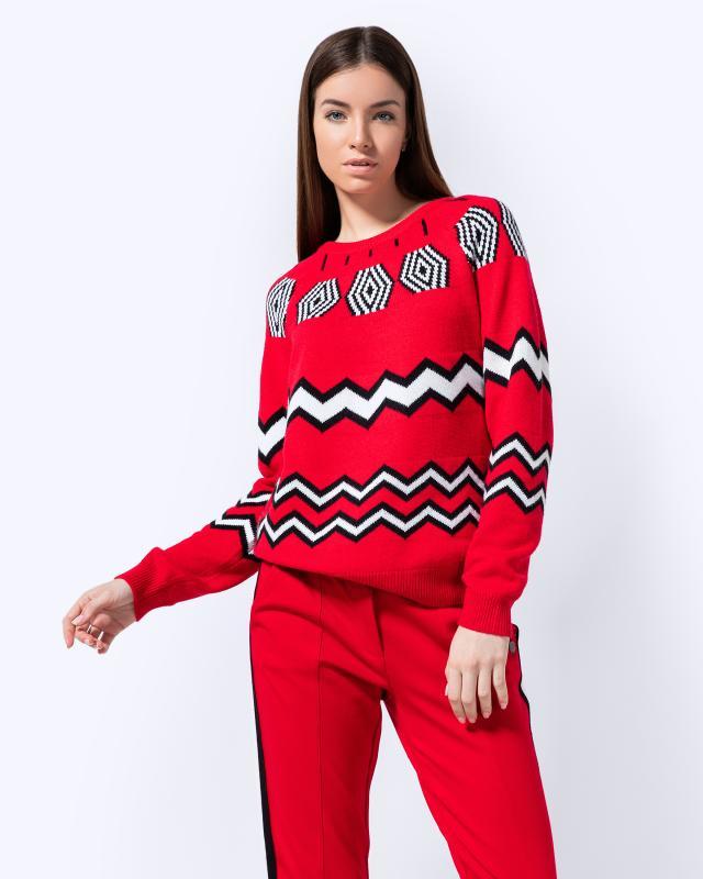 Пуловер, р. 54, цвет красно-черно-белый