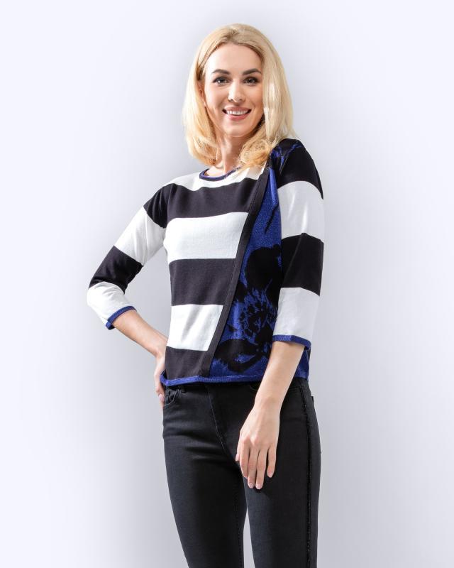 Пуловер, р. 52, цвет чёрный/белый/синий