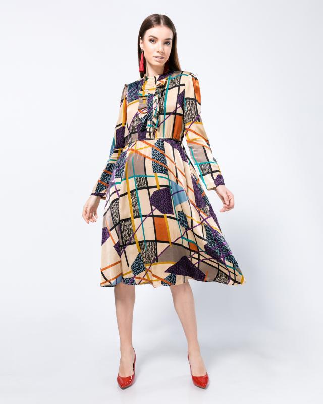 Платье, р. 52, цвет бежевый/фиолетовый