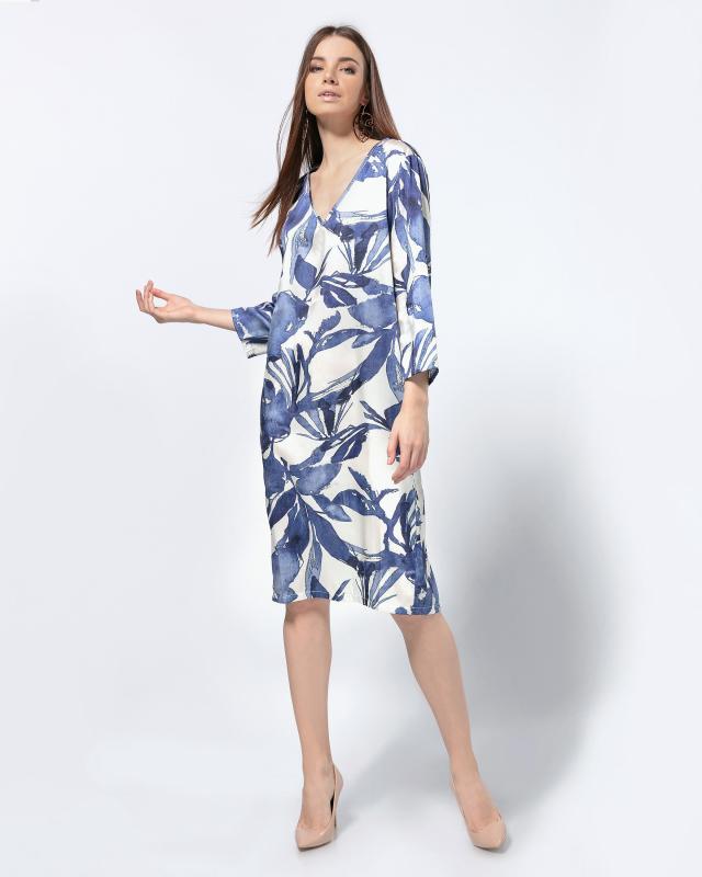 Платье, р. 54, цвет белый/синий