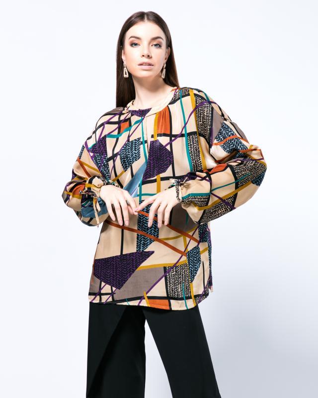 Блузка, р. 50, цвет бежевый/фиолетовый
