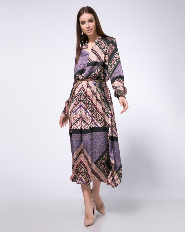Платье, р. 48, цвет бежевый/фиолетовый