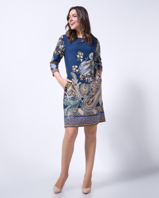 Платье, р. 56, цвет синий/бежевый