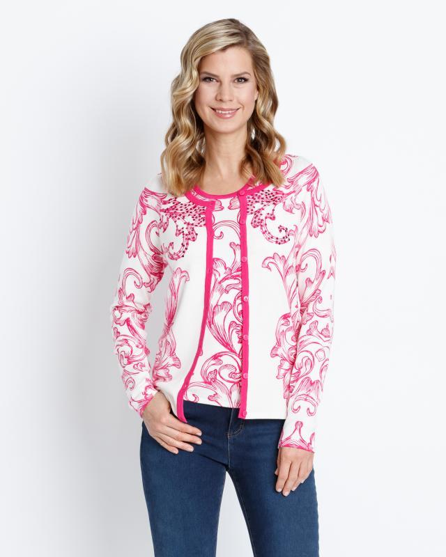 Сет: кардиган и блуза, р. 56, цвет ярко-розовый