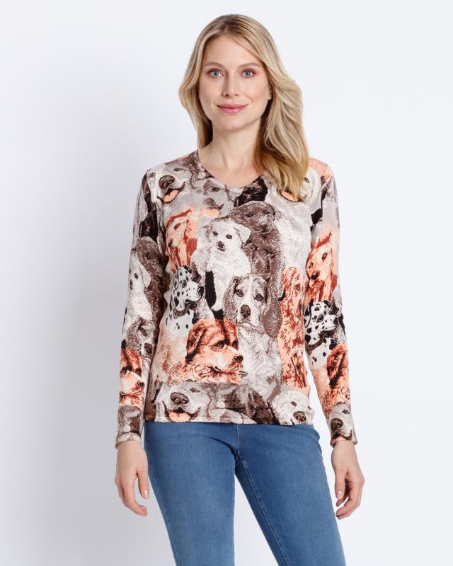 Пуловер, р. 52, цвет коричневый