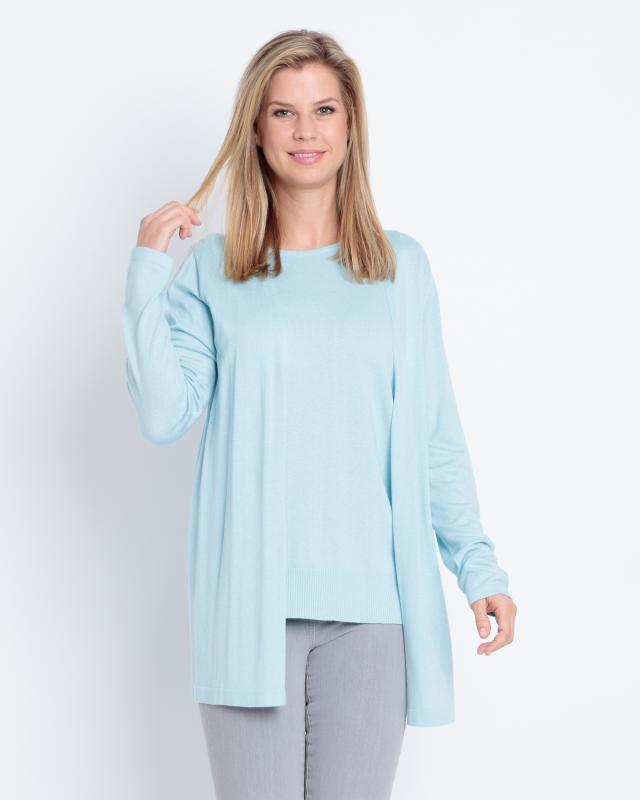 Сет: кардиган и блуза, р. 48, цвет голубой