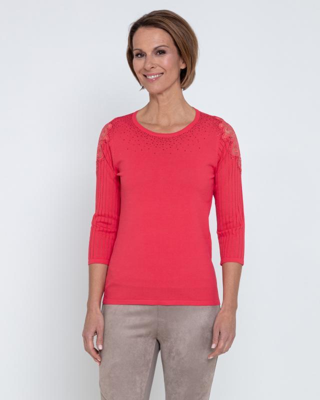Пуловер, р. 44, цвет арбузный