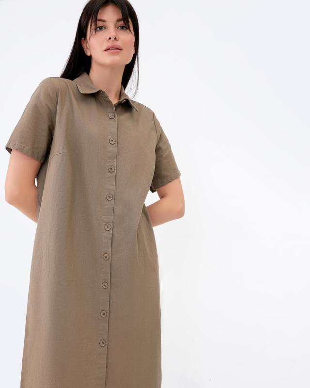 Платье, р. 54, цвет серо-коричневый