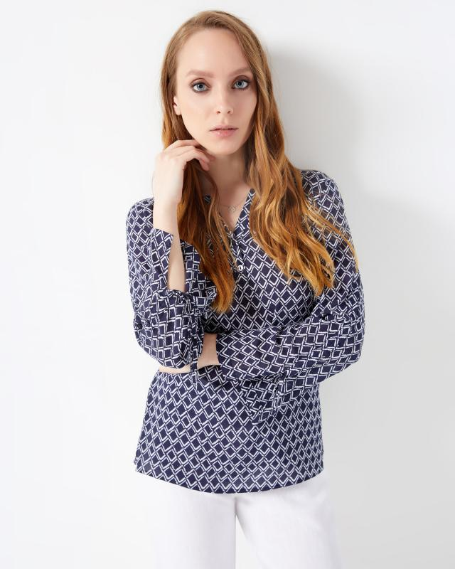 Блуза, р. 58, цвет синий/белый