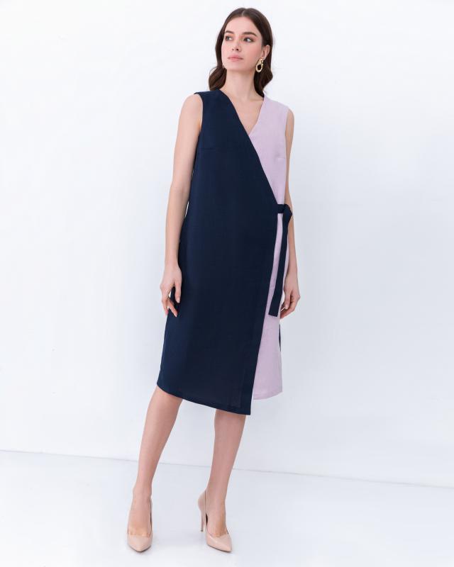 Платье, р. 58, цвет сине-розовый