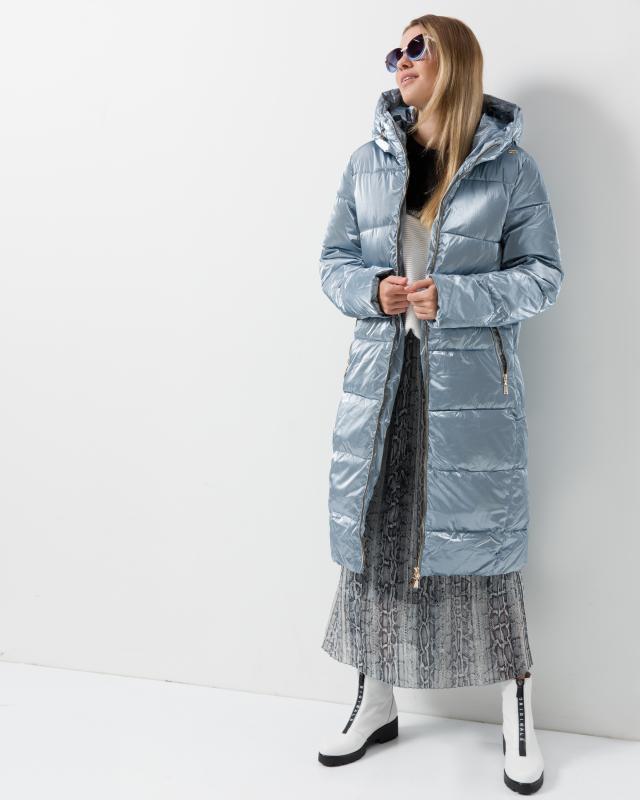 Пальто, р. 60, цвет темное серебро