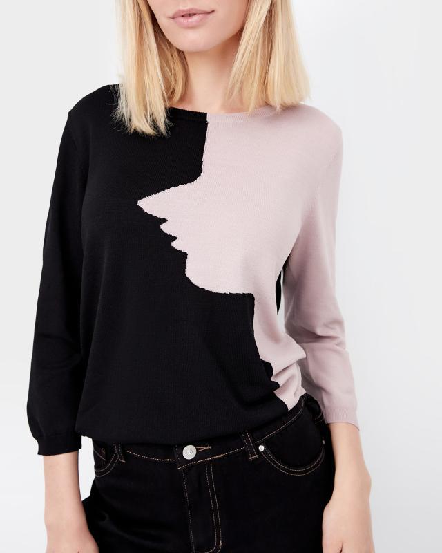 Пуловер, р. 44, цвет черно-розовый