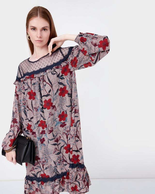 Платье, р. 60, цвет розовый/синий
