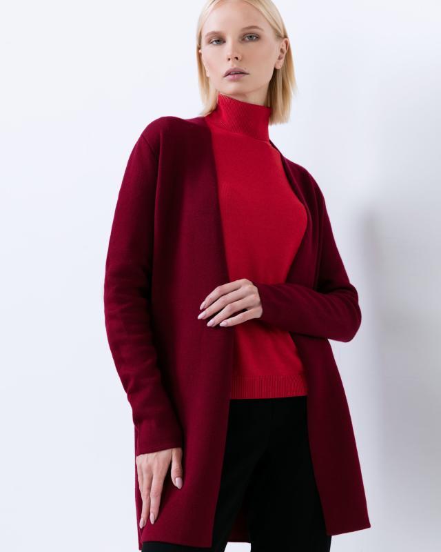 Кардиган, р. 60, цвет темно-красный