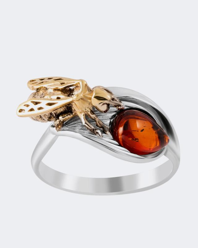Кольцо с янтарем «Пчела» Ages of Amber фото