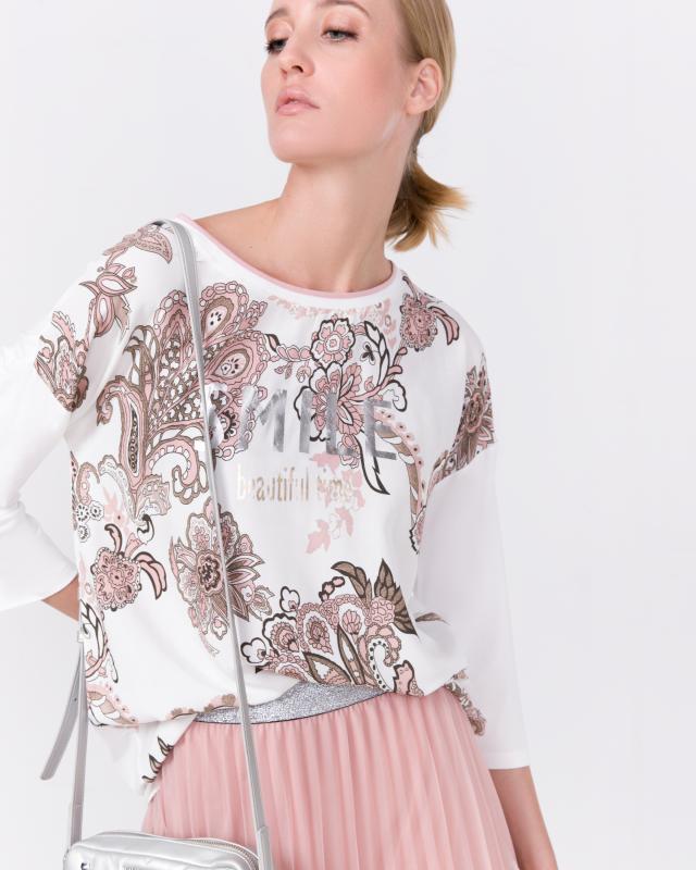 Блузка, р. 50, цвет белый/розовый
