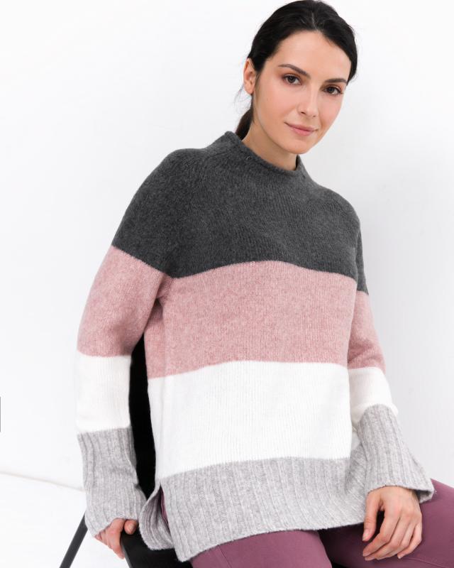 Пуловер, р. 48, цвет серый/розовый