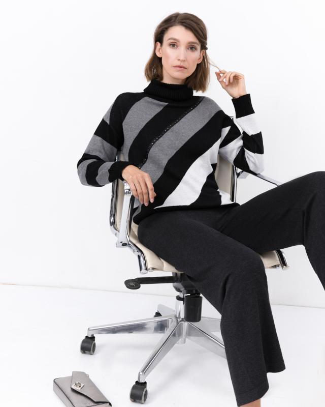 Пуловер, р. 56, цвет серый/черный