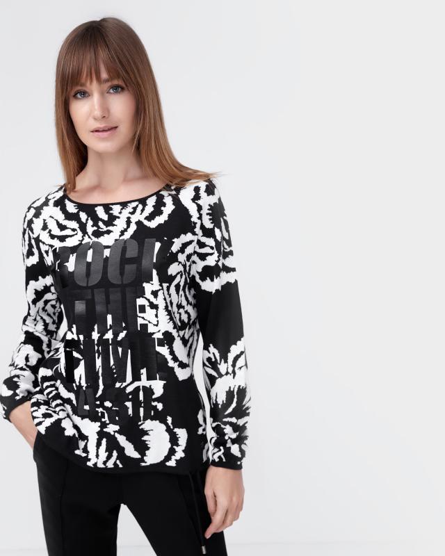 Пуловер, р. 54, цвет черный/белый