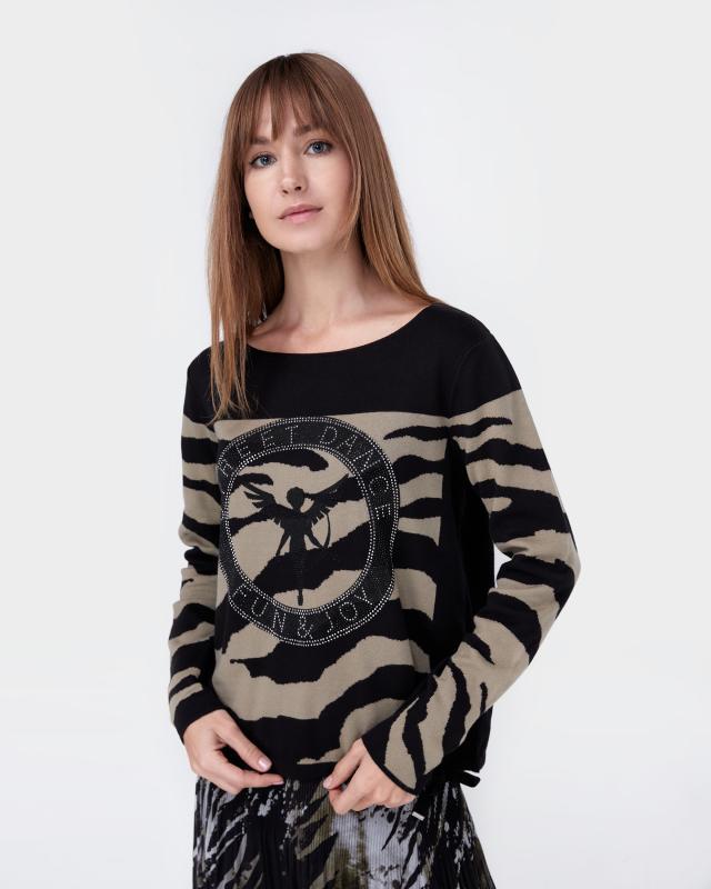Пуловер, р. 50, цвет черный/оливковый