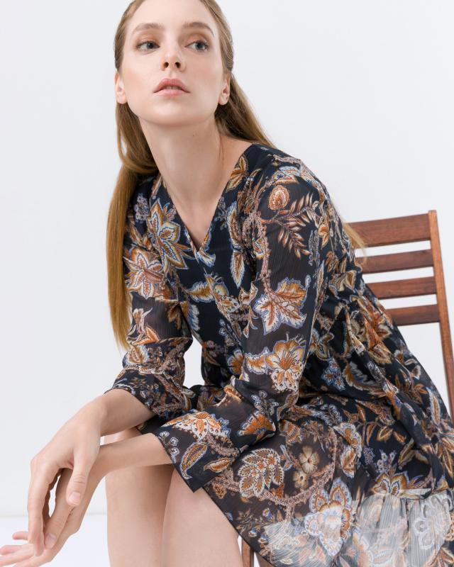 Платье, р. 46, цвет синий/охра