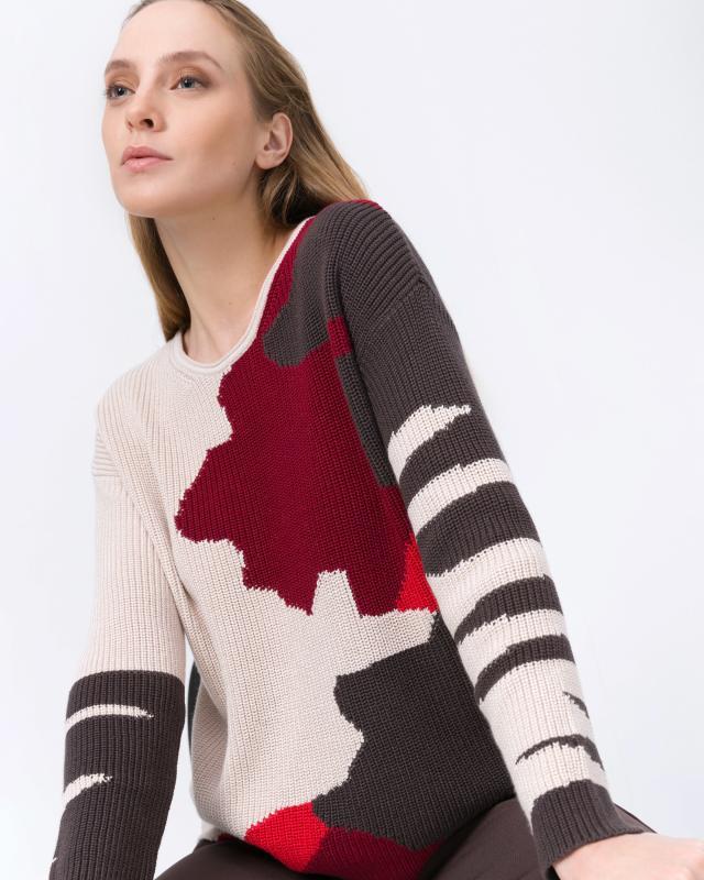 Пуловер, р. 44, цвет красный/бежевый