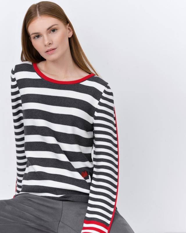 Пуловер, р. 50, цвет белый/серый