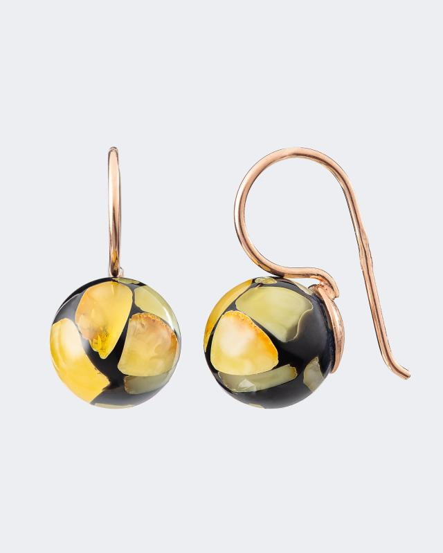 Серьги шарики микс, черный Ages of Amber фото