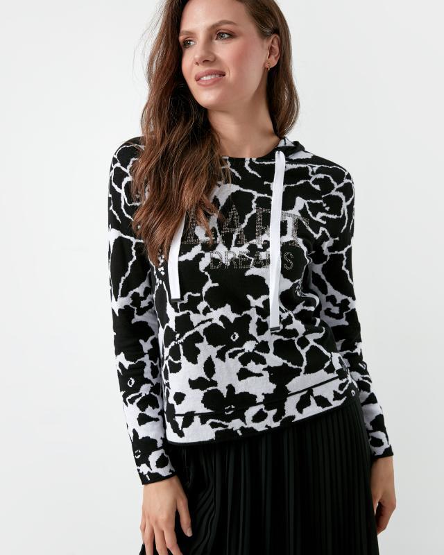 Пуловер, р. 44, цвет черный/белый