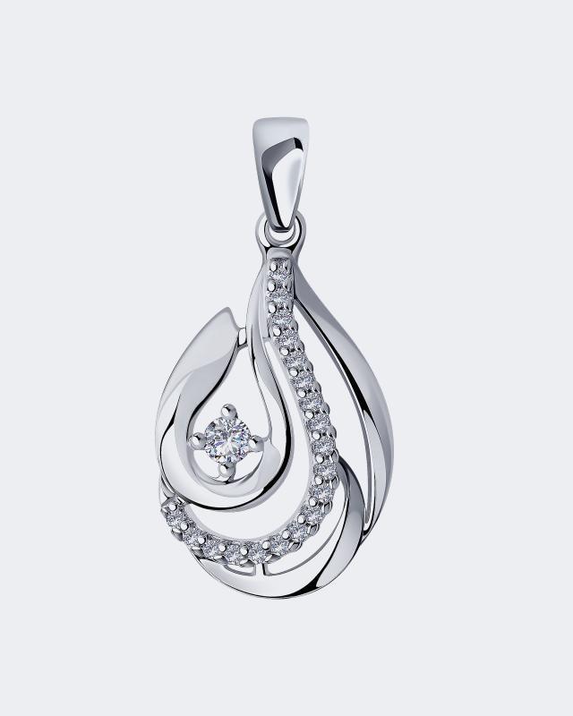 Подвеска каплевидной формы с фианитами Diamant moonswoon серебряная моносерьга 5 из коллекции digits moonswoon