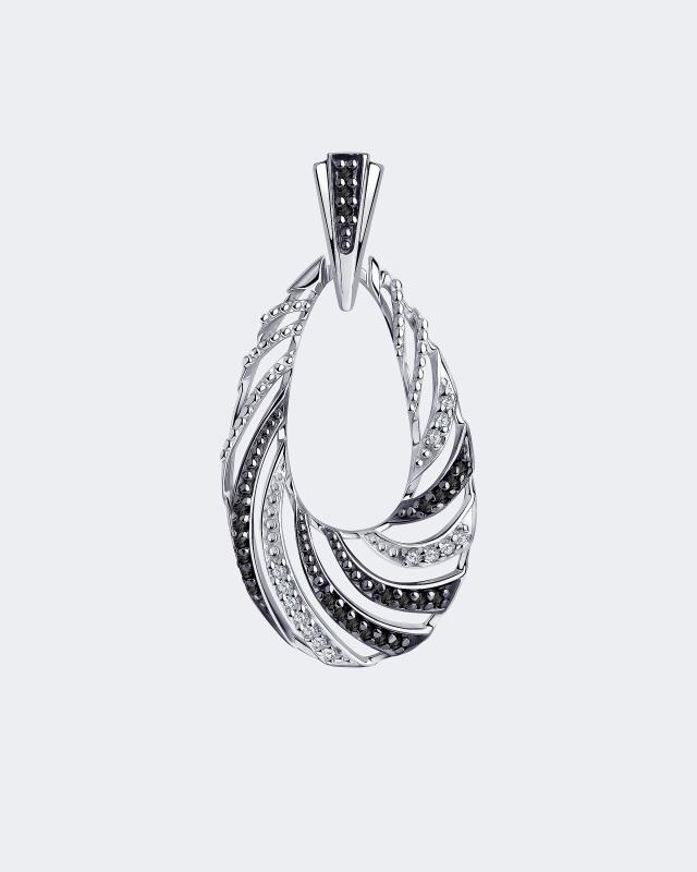 Фото - Подвеска фантазийная со вставками из черных фианитов Diamant подвеска змея из золота c черными фианитами
