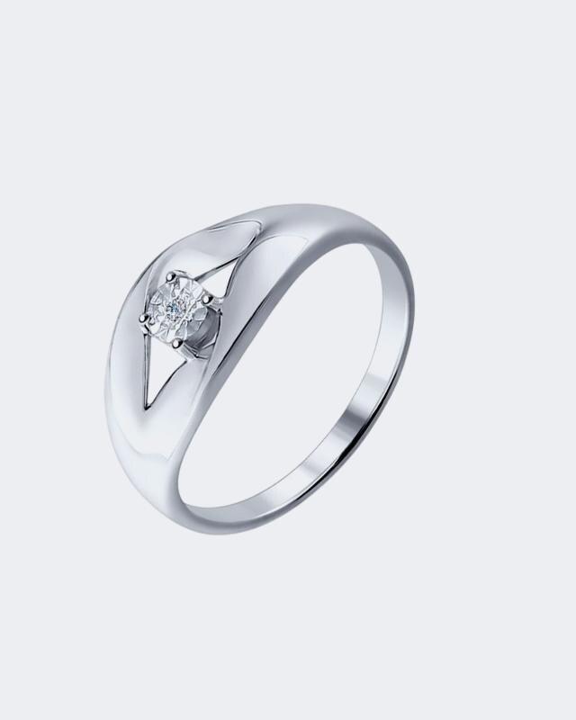 Кольцо в серебре с бриллиантом Diamant lav z серебряное кольцо ruby из коллекции antique