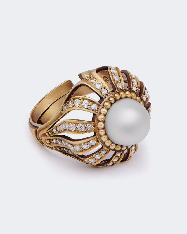 Кольцо «Султан» с культивированным жемчугом Fiore di Firenze fiore di firenze серебряные серьги перья с жемчугом fiore di firenze