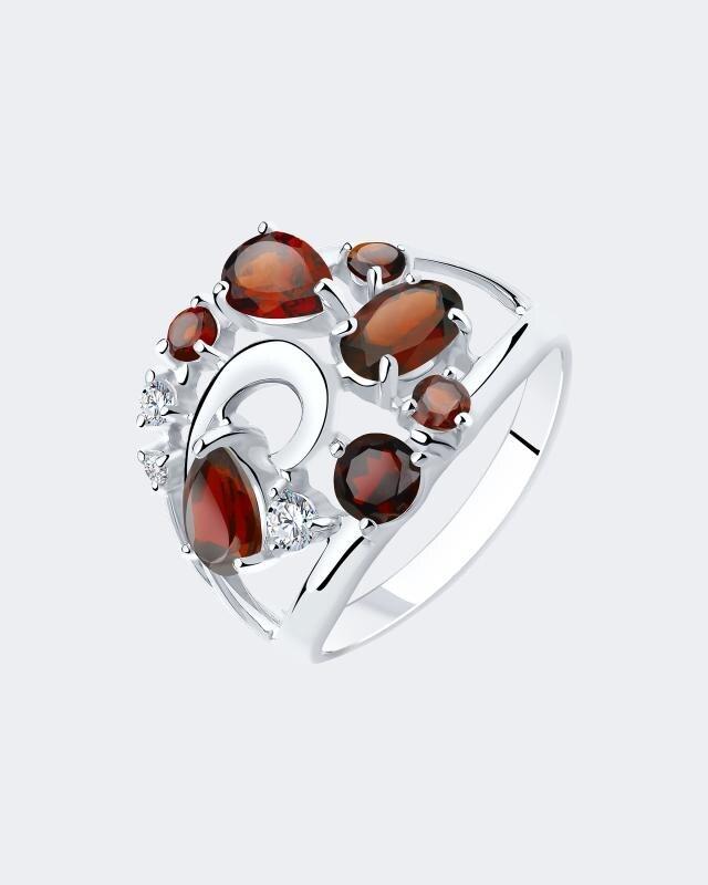 Кольцо фантазийное с гранатом и фианитами Diamant lav z серебряное кольцо ruby из коллекции antique