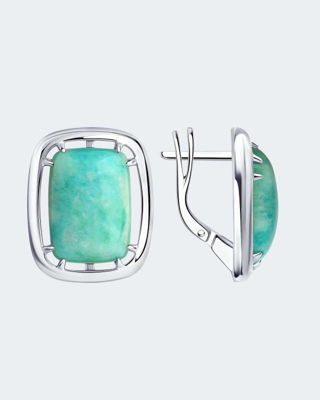 Серьги из серебра с амазонитом Diamant