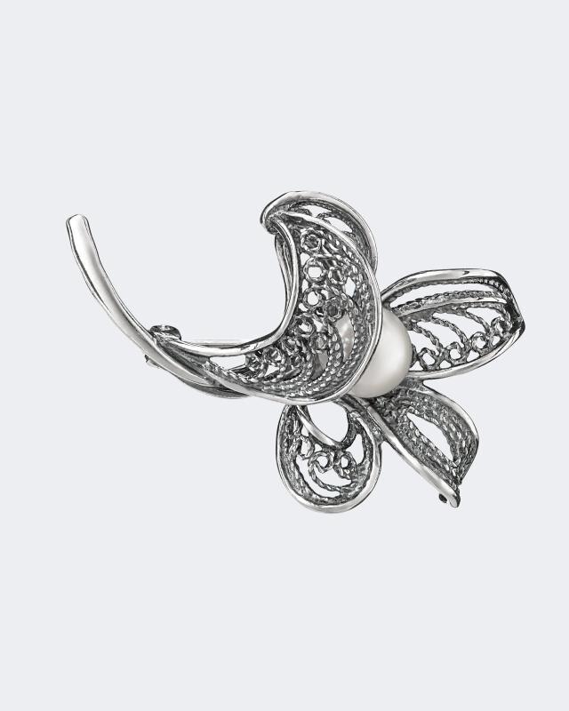 Фото - Брошь из оксидированного серебра с жемчужиной макс зейдевиц рут зейдевиц девушка с жемчужиной