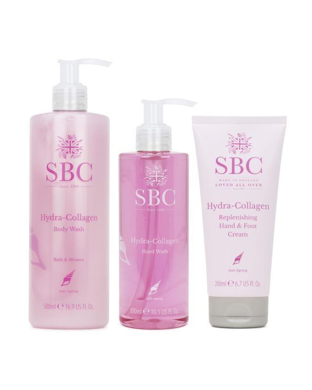 Набор: крем-гель для ванной и душа с коллагеном + интенсивный крем для рук и стоп с коллагеном и витамином Е + крем-гель для мытья рук с коллагеном SBC