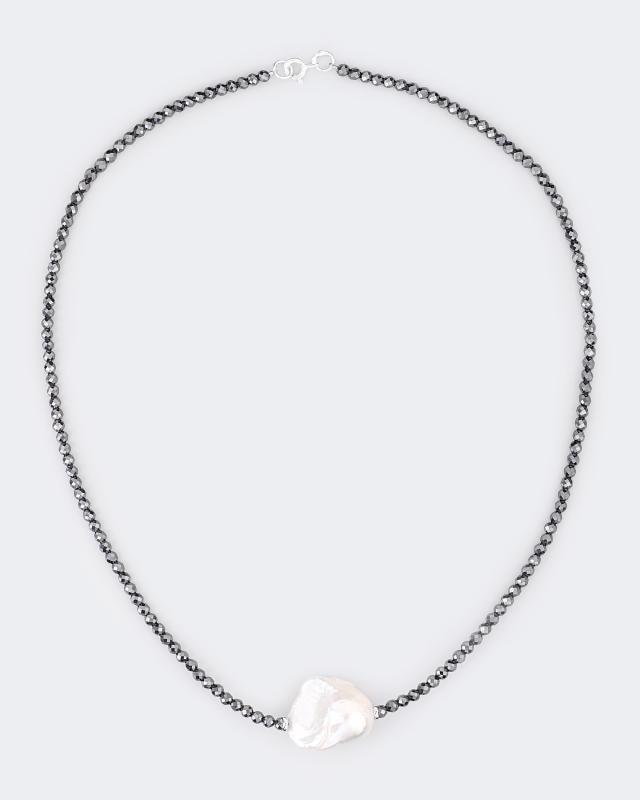 Ожерелье из серебра с жемчужиной и гематитом ожерелье и серьги лаура аматти царица